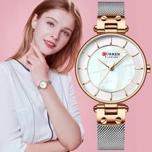 CURREN 크리 에이 티브 간단한 쿼츠 시계 여성 드레스 스틸 메쉬 시계 새로운 시계 숙녀 팔찌 시계 relogios feminino