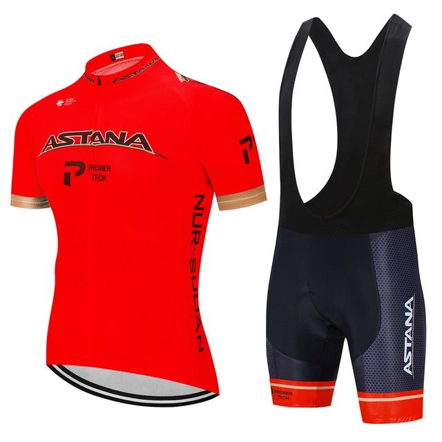 Verão 2020 astana pro equipe de ciclismo jérsei maillot bicicleta ciclismo roupas da bicicleta dos homens uniformes dos esportes montanha terno conjunto 3