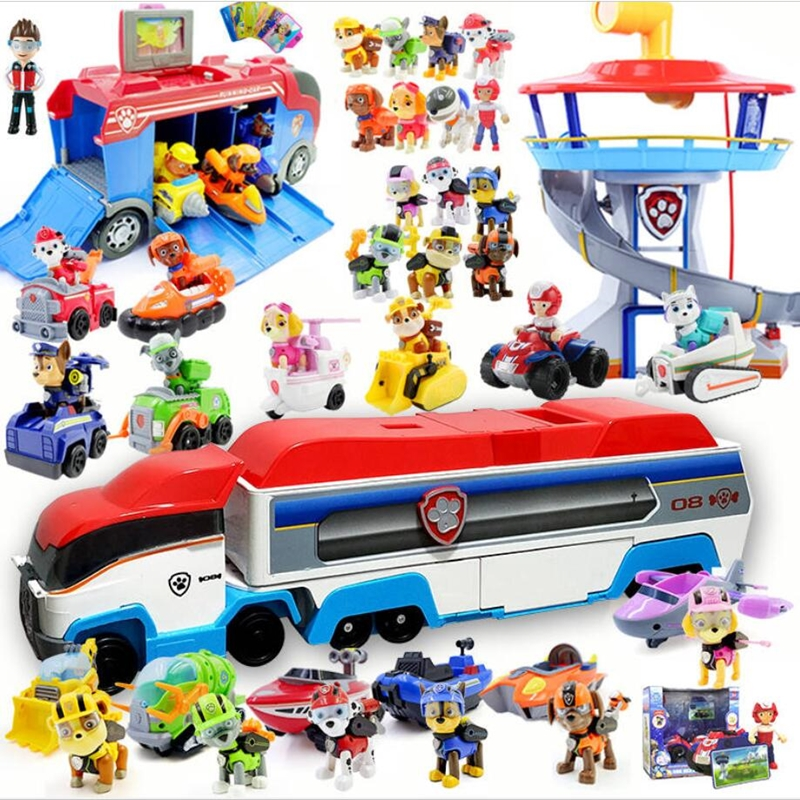 All Paw Patrol Bus Lookout Tower With Music Action Figures Patrulla Canina Paw Patrol Toys For Children Christmas Gifts