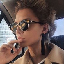 Retro Semi Rimless Sunglasses Men Women