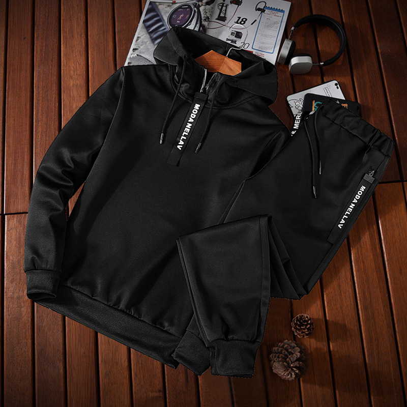 2019 Men Spring And Autumn Long-sleeved Sweater Leisure Sports Suit Hooded Pullover Two-Piece Clothes