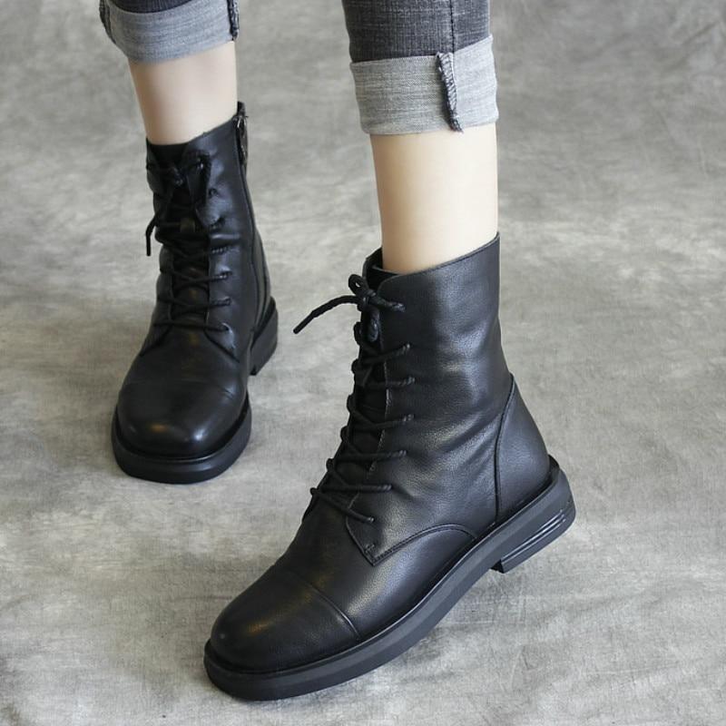 Женские ботинки martin из натуральной кожи; повседневная обувь черного цвета; зимние Брендовые женские кожаные ботинки в байкерском стиле; коллекция 2019 года; мягкие ботильоны на низком каблуке - 2