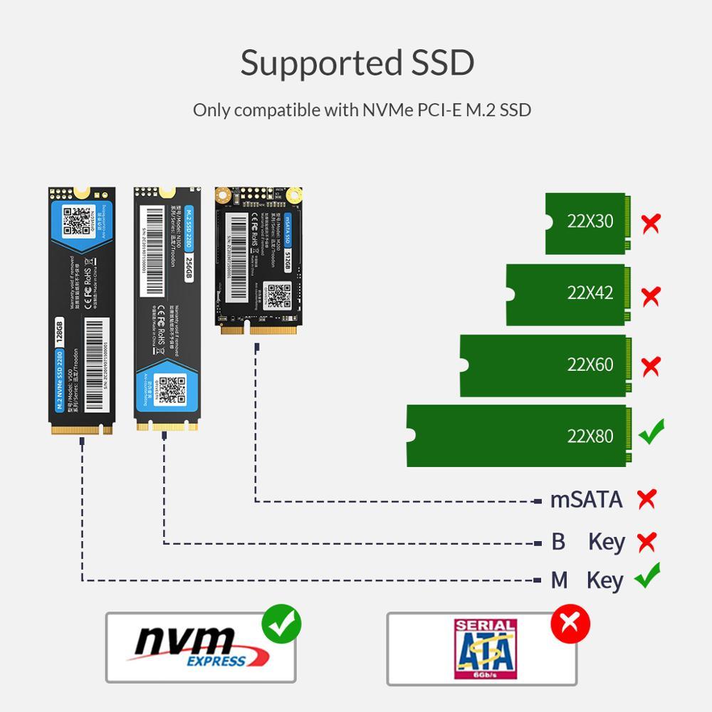 Image 5 - ORICO Thunderbolt 3 NVME M.2 obudowa SSD wsparcie 40 gb/s 2TB aluminium USB C z Thunderbolt 3 C do C kabel do laptopa pulpitObudowa dysku twardego   -