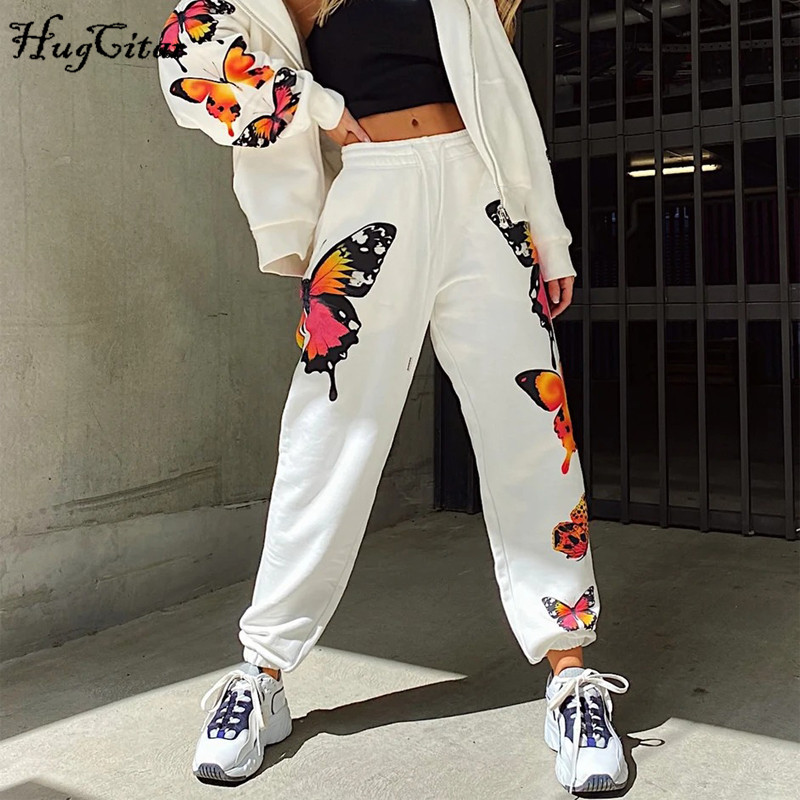 Hugcitar 2020 high waist butterfly print sweat pants spring summer women new arrivals streetwear casual trousers