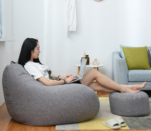 Lazy Sofas Cover Chairs without Filler Linen Cloth Lounger Seat Bean Bag Pouf Puff Couch Tatami Living Room 의자