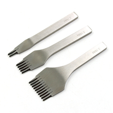 עור תפרים אגרוף כלי אזמל עור חור אגרופים כלים סט קרפט מלוטש שיניים לשרוך תפר DIY(2.7 3.0 3.38 3.85)mm