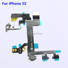 New High Quality Power Button Flex for iPhone 5S Mute Volume Control On Off Switch Ribbon Metal Bracket Repair Parts(China)
