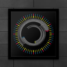 Horloge murale en bois avec cadre de temps carré, plaque rotative, Design moderne, montre graphique de bureau, couleur flèche