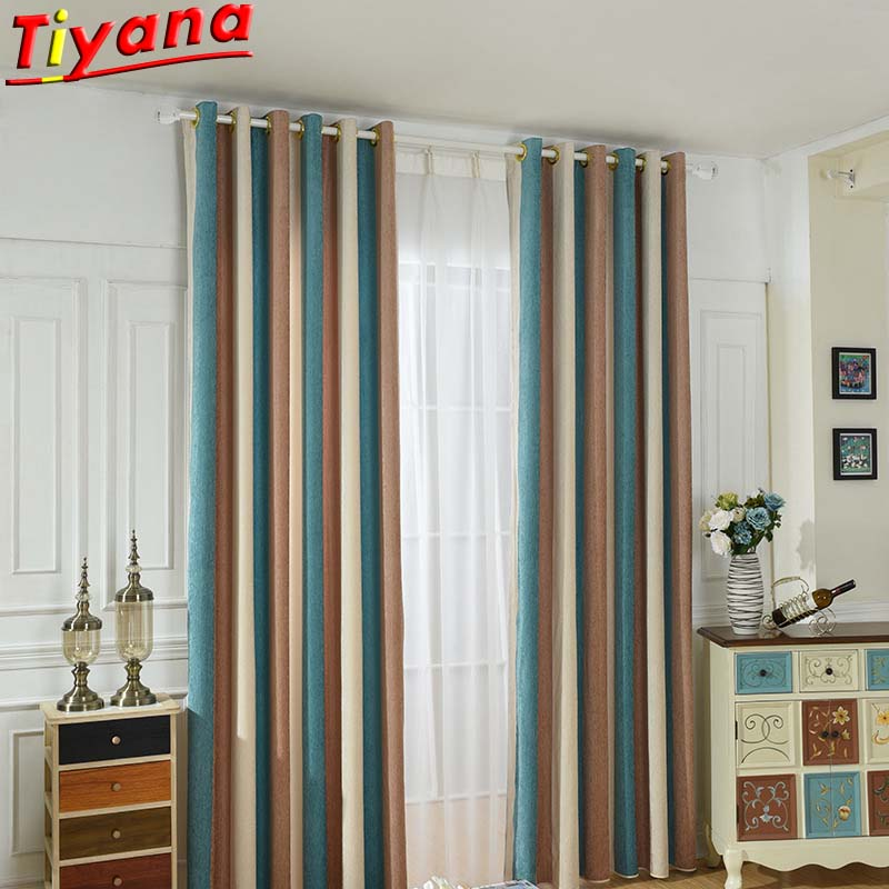 Fashion Brown Blue Beige Stitching Striped Panel Curtains For