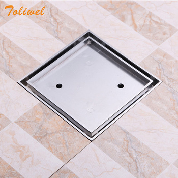 15 x 15cm Square Bathroom Brass Shower Drain Floor Drain Trap Waste Grate Chrome Invisible Drainer wall drain floor large traffic sus304 30cm drainer bathroom shower drainage waste drain big flow rate refuse nasty smell drains