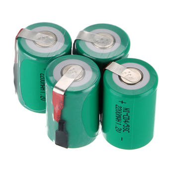 4pcs 4/5 SubC SC 1.2V 2200mAh NiCd Rechargeable Battery Flat & Tap Green Color image