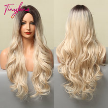 TINY LANA Long Body Wavy Wigs Middle Part Ombre Dark Brown Blonde Synthetic Wigs For Women Cosplay Party Heat Resistant Fiber