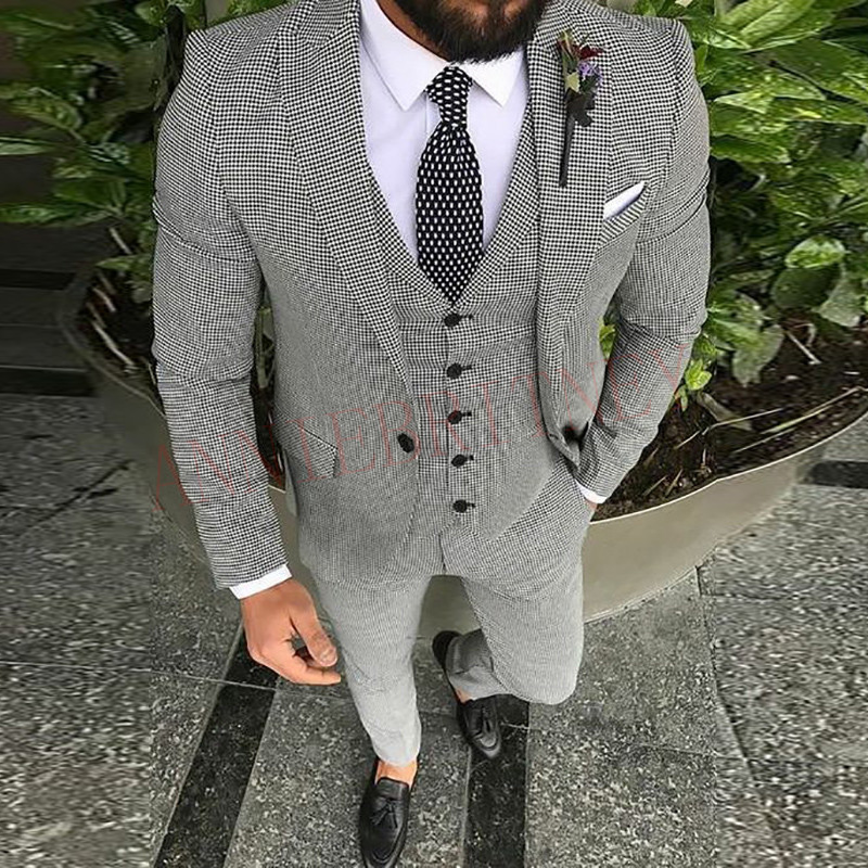 Casual Suit Men 3 Piece 2019 Tailored Slim Fit Fashion Blazer Pants Vest For Men Handsome Men's Clothes Set Groom Wedding Tuxedo
