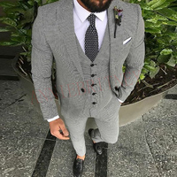 Casual Suit Men 3 Piece 2019 Tailored Slim Fit Fashion Blazer Pants Vest for Men Handsome Men's Clothes Set Groom Wedding Tuxedo