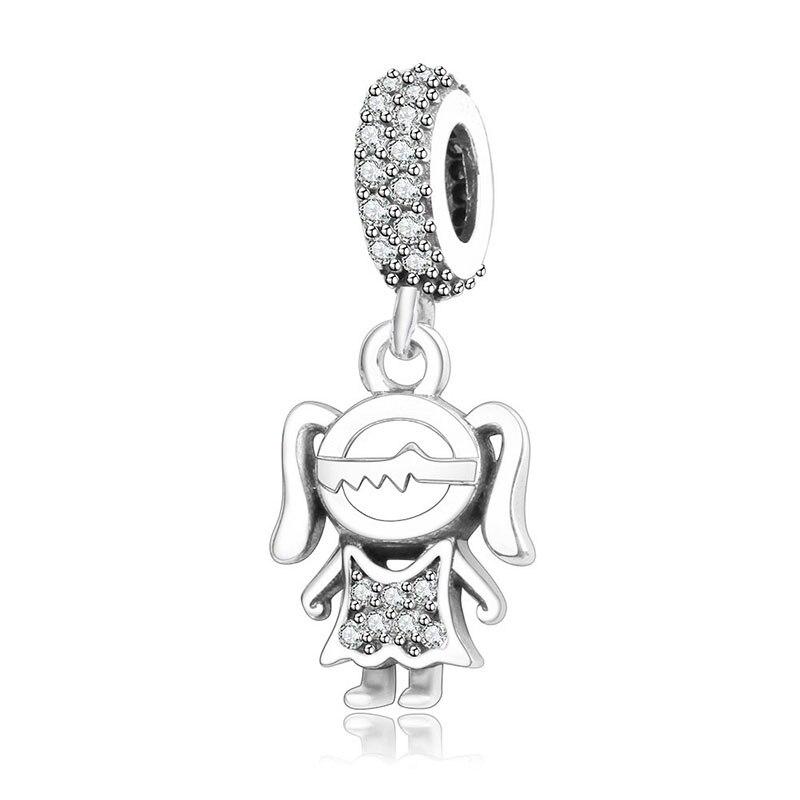 Подходит браслет Pandora Подвески из стерлингового серебра 925 пробы мальчик талисман для девушки Подвеска-бусы DIY ювелирных изделий дизайн Berloque