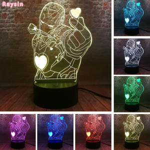 Toy Led-Lamp Iron Marvels Avengers Figure Desk-Night-Light Action 7-Colors Man Xmas-Party-Gift