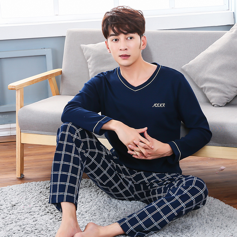 2019 Autumn 100% Cotton Long Sleeve Pajama Sets For Men High Quality Sleepwear Underwear Male V-neck Loungewear Homewear Clothes