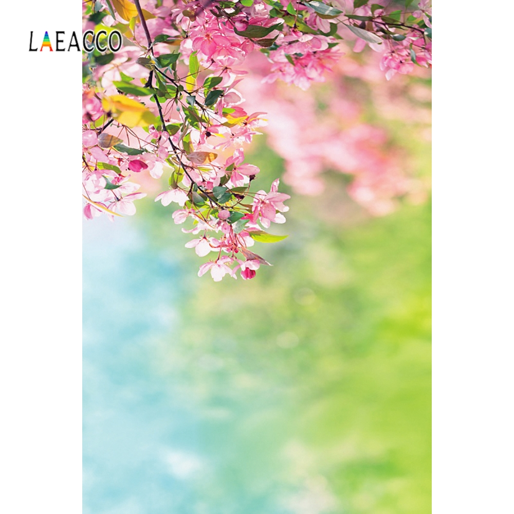 Laeacco Pink Flowers Spring Bokeh Baby Child Portrait Photography Backgrounds Customized Photographic Backdrops For Photo Studio