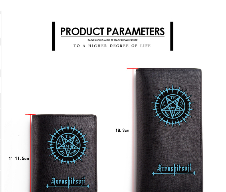Black Butler Wallet Ciel Phantomhive Sebastian Michaelis Black Long PU Purse (1)