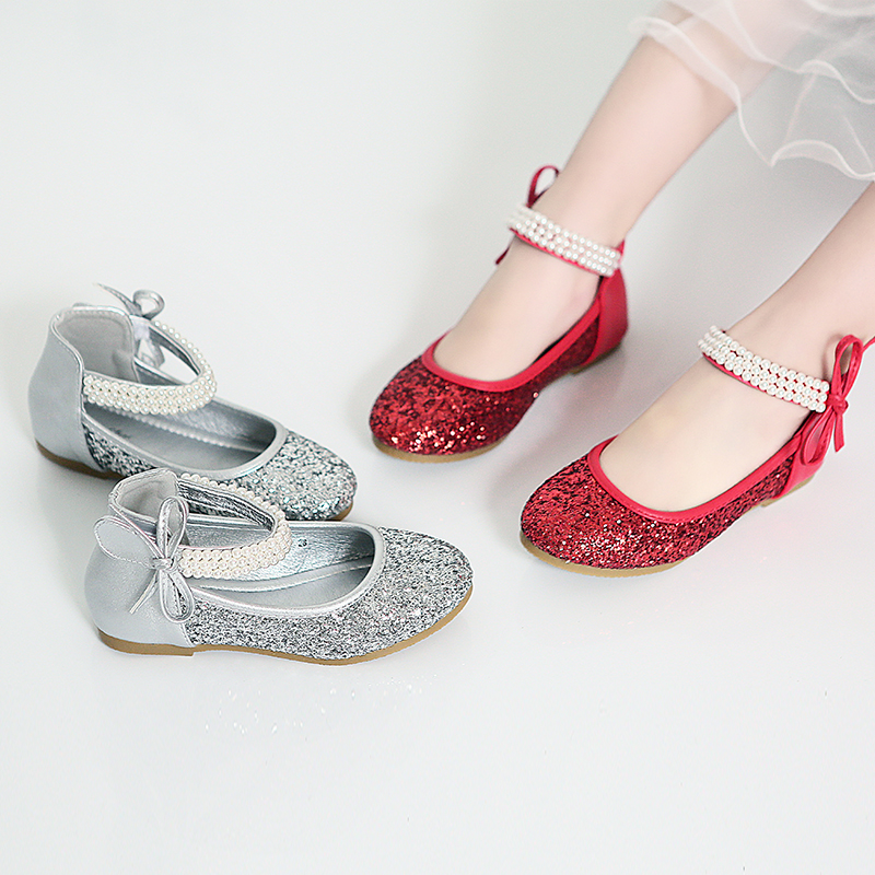 Spring Girls Leather Shoes Fashion Sequins Pearl Bowtie