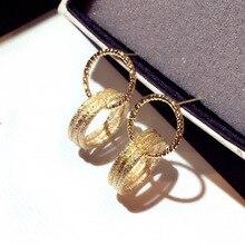New fashion  circle earring korean trendy crystal jewelry rhinestone chandelier earrings boho statement