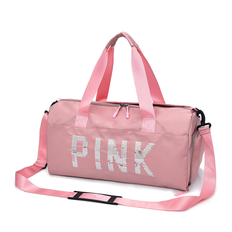 New Style Korean-style Handbag Gym Bag Women's Men's Pink Waterproof Single-shoulder Bag Travel-Style Yoga Bag Wet And Dry Separ