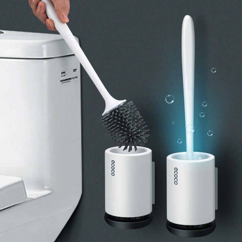 Tpr toalete escova de borracha cabeça titular escova de limpeza para banheiro pendurado na parede piso doméstico limpeza acessórios do banheiro Suporte p/ escova p/ vaso sanitário    -