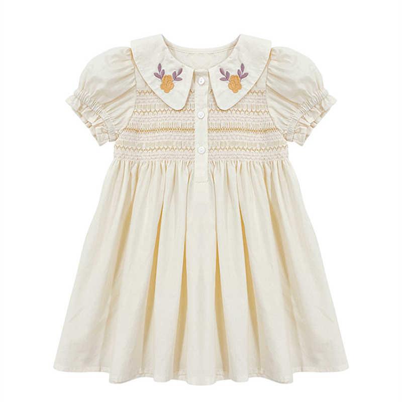 Toddler Handmade Girls Smocked Dress Printed Peter Pan Collar Pageant Age 3-10