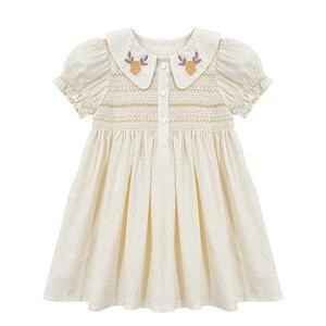 Детское платье для маленьких девочек; Платье ручной работы с вышивкой и воротником «Питер Пэн»; Эксклюзивная детская одежда