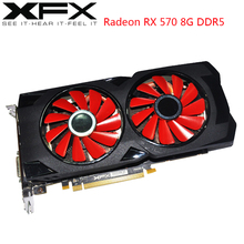 XFX tarjeta gráfica AMD Radeon RX 570, 8GB, GPU, RX570, 8GB, DDR5, tarjetas de vídeo de PC de 256Bit, juego de ordenador de escritorio, OW, PUBG, tarjeta de vídeo usada