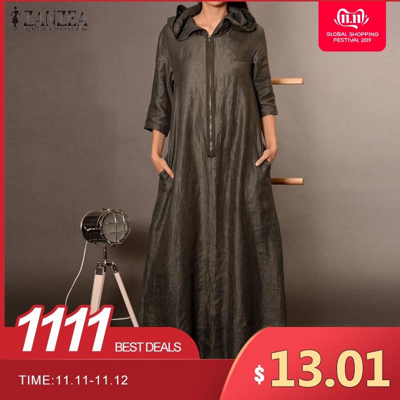 2019 ZANZEA Autumn Hooded Dress Women's Sundress Plus Size Punk Casual Zipper Long Vestidos Female Long Sleeve Tunic Robe Femme