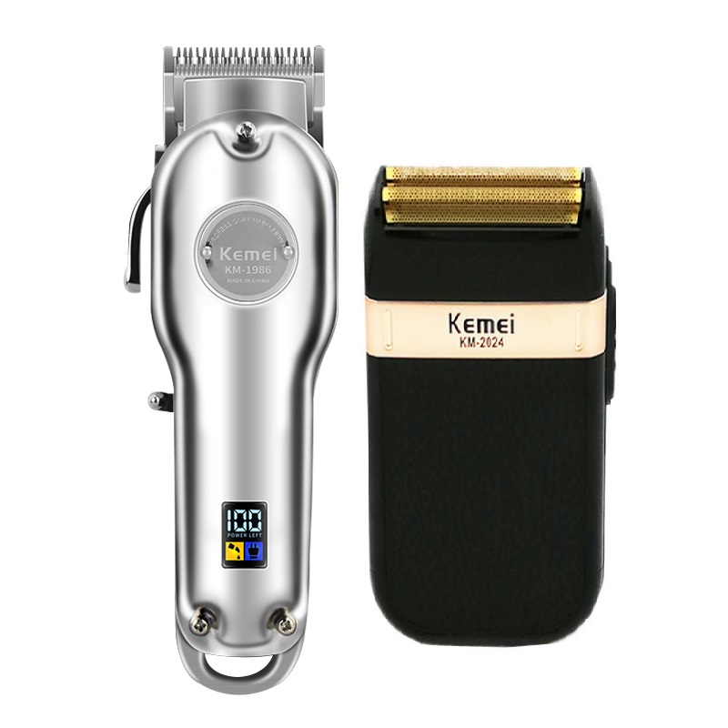 Kemei 1986 Professional Electric All Metal Hair Clipper Powerful Cordless Hair Trimmer Men Silver Gold Haircut Machine Barber