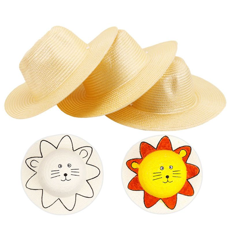 DIY Child Mexican Sombrero Costume Sunshade Summer Outdoor Sun Hat Art Painting E65D