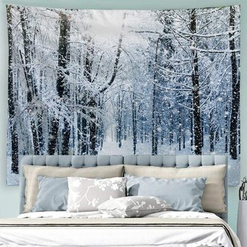 Nature Art Polyester Fabric Tapestry Winter Snow in The Forest