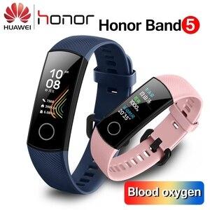 Image 1 - Original huawei honor band 5 4 inteligente pulseira de oxigênio no sangue 0.95 detect tela sensível ao toque detectar nadar postura freqüência cardíaca sono snapbracelet