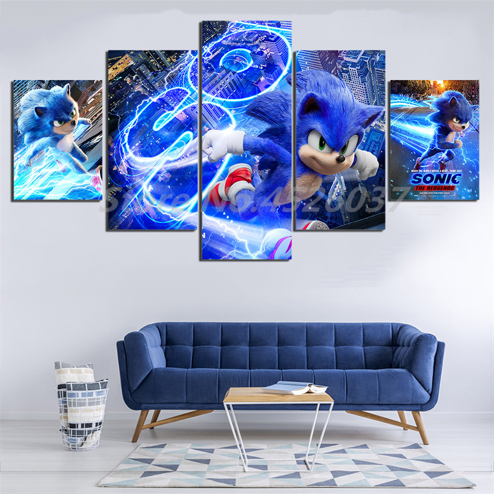 Sonic The Hedgehog Movie Poster Artwork 5 Pieces Printing Picture For Living Room Photo Hd Canvas Home Decoracion Painting Calligraphy Aliexpress
