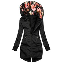 Jacket Coat Pocket-Sweatshirt Long-Sleeve Warm Winter Women Fashion Floral-Print Zipper