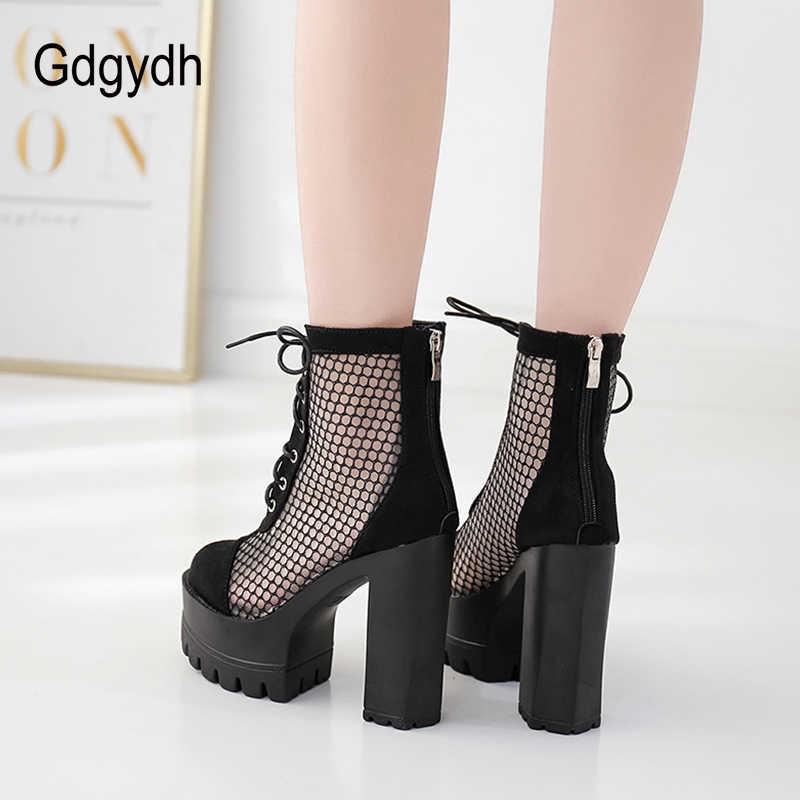 Gdgydh Mesh Ayak Bileği Yüksek Topuklu Çizmeler Kadın Çapraz bağlı Roma Tarzı Seksi parti ayakkabıları Kadın Gece Kulübü Topuklu Siyah Süet Damla Gemi
