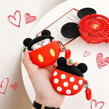 For airpods case 3D Cute couple silicone wireless Bluetooth headset set Apple Airpods 1 2 Cartoon mini mickey earphone