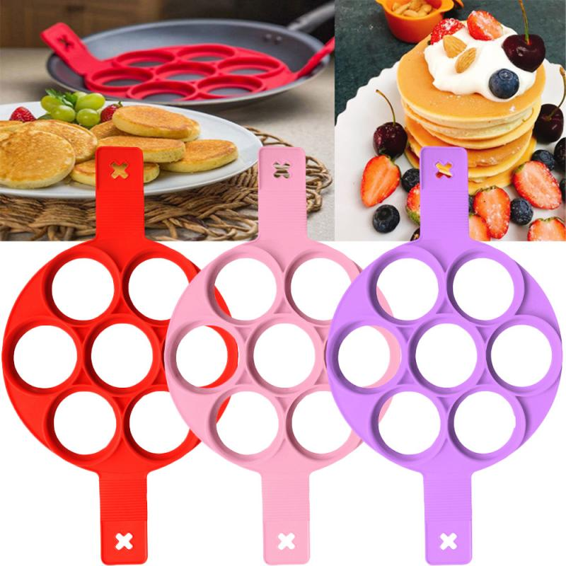 4 Holes Nonstick Pancake Maker Molds Silicone Mold for frying Pan Round//Square//H