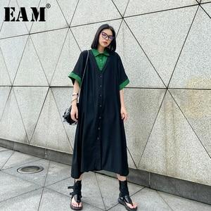[EAM] Women Green Pleated Split Big Size Shirt Dress New Lapel Half Sleeve Loose Fit Fashion Tide Spring Summer 2020 1W357