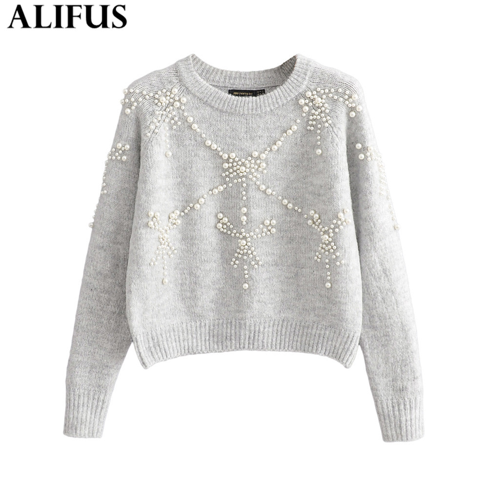 Fashion Za Women Sweaters 2019 Elegant Pearls Beading O-Neck Casual Long Sleeve Loose Warm Knitting Pullover Sweater Jumper Tops