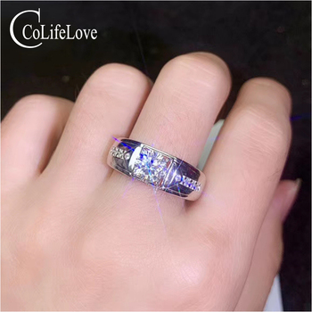 CoLife Jewelry 925 Silver Moissanite Ring for Man 6.5mm F Color Moissanite Silver Ring Real Silver Moissanite Man Jewelry