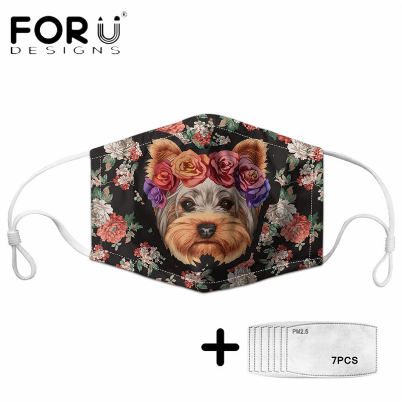 FORUDESIGNS New Arrival Mask Cute Yorkshire Terrier Dog with Floral Printed Washable Elastic Face Cover Mascara Free Shipping
