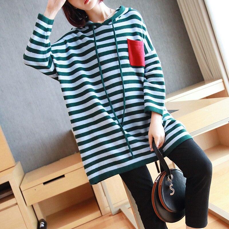 Ms. big yards полосатая трикотажная рубашка с капюшоном, Свободный пуловер с длинными рукавами, свитер, толстый осенний и зимний 2019 Новый женский