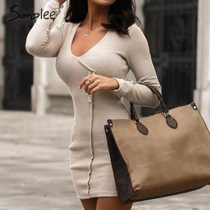 Image 2 - Simplee Oansatz frauen herbst kleid Elegante tasten langarm schwarz bodycon kleid Streetwear damen warme chic mantel mini kleid