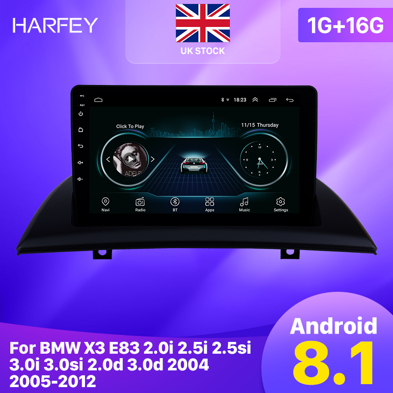 Harfey Android 8.1 9 Inch Car GPS Radio Head Unit Player For 2004 2005 2007-2012 BMW X3 E83 2.0i 2.5i 2.5si 3.0i 3.0si 2.0d 3.0d