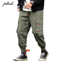 New Hot Casual Multi-Pockets Elastic Waist Stylish Men's Joggers Trousers Fashion Autumn Solid Harem Cargo Pants Streetwear