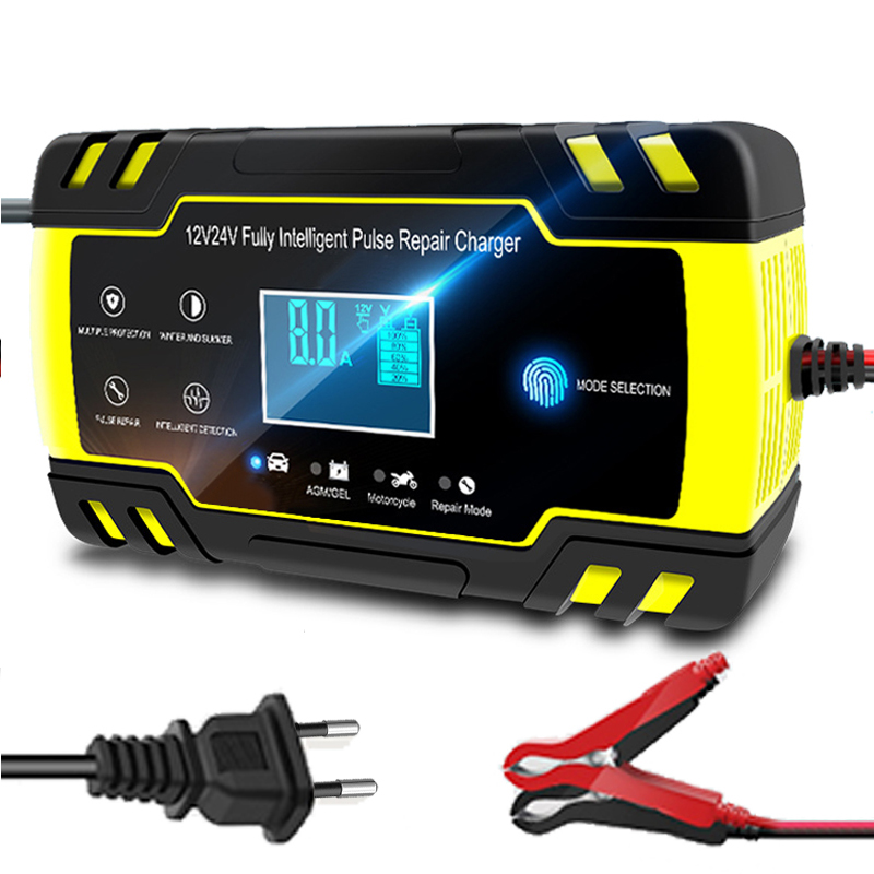 12V-24V 8A Full Automatic Car Battery Charger Power Pulse Repair Chargers Wet Dry Lead Acid Battery-chargers Digital LCD Display(China)