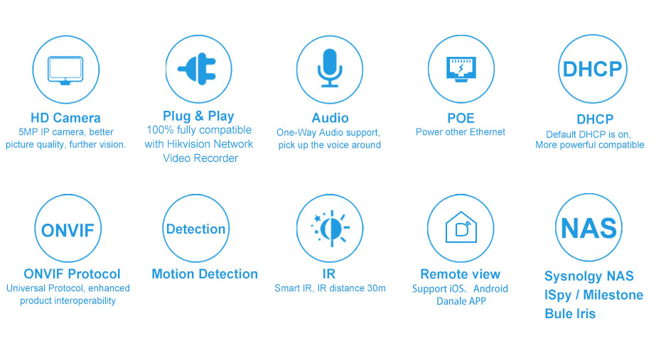 H4f51ff4cdacb49d78b19f3009f95772bi 5MP POE IP Camera with Microphone, Audio, IP Security Dome Camera outdoor IP66 Indoor Outdoor ONVIF Compatible Hikvision